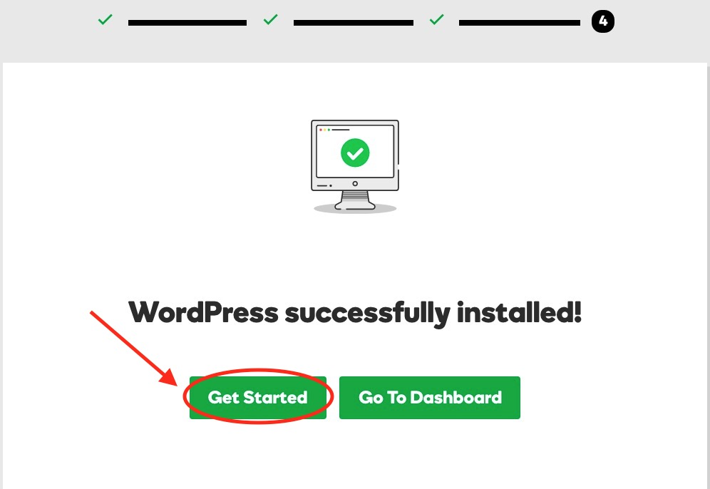 WordPress Successfully Installed - Get Started
