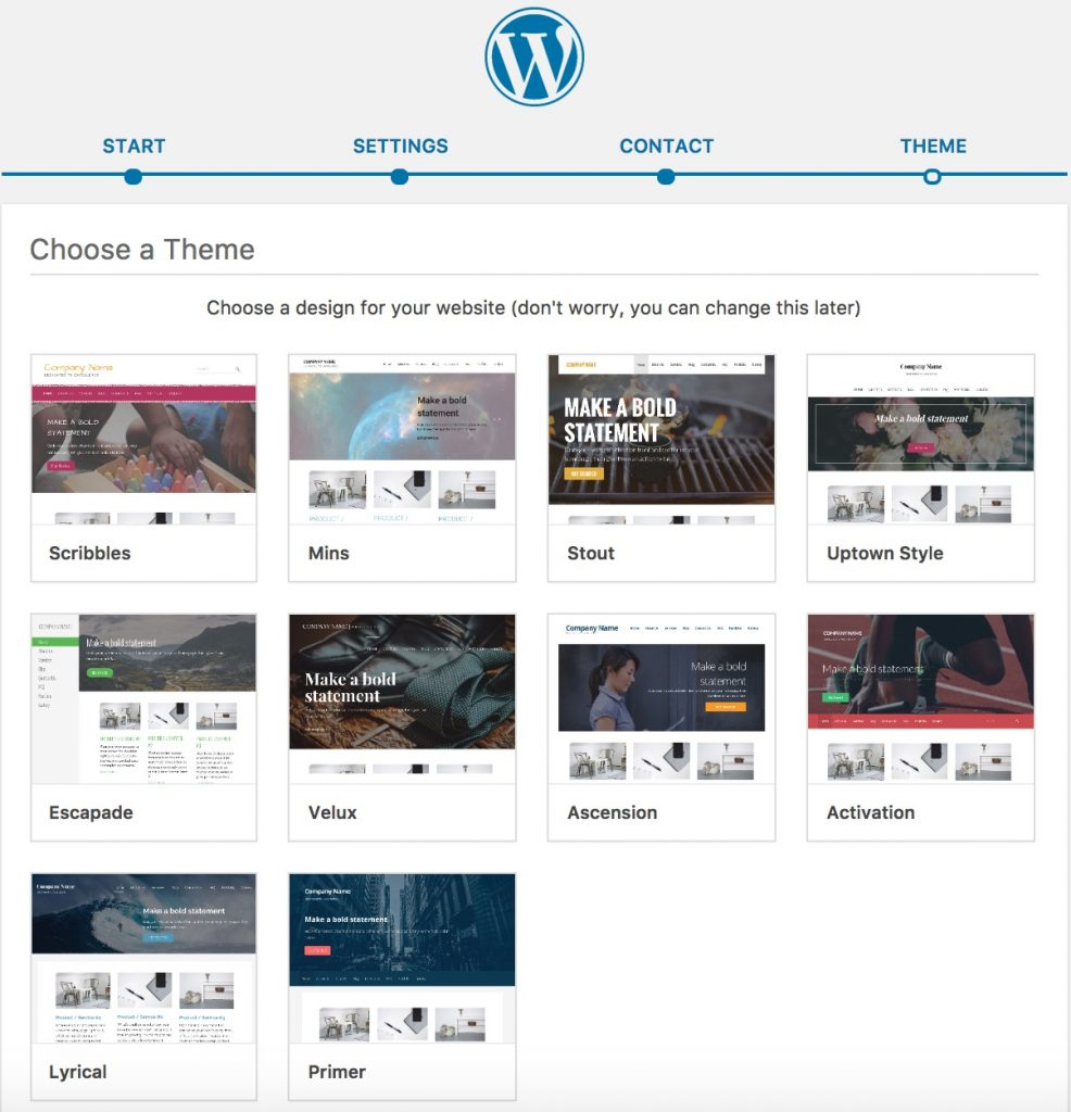 WordPress - Choose a Theme