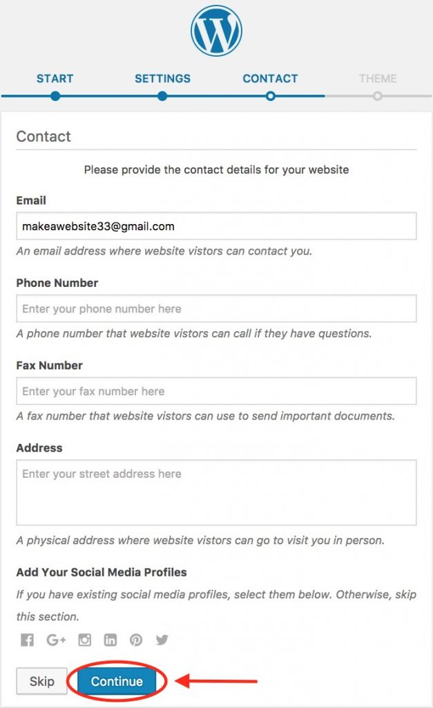 WordPress - Contact